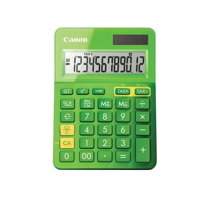 CANON Calculatrice de bureau LS-123K - 12 chiffres - Panneau solaire, pile - Vert métallisé