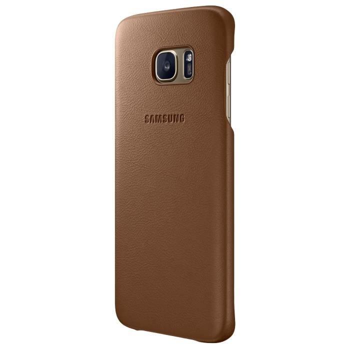 SAMSUNG Coque rigide en cuir Samsung EF-VG935LD - Pour Galaxy S7 Edge G935 - Marron
