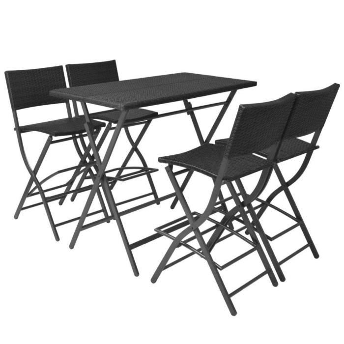 Table de jardin et 4 chaises pliantes noir résine tressée