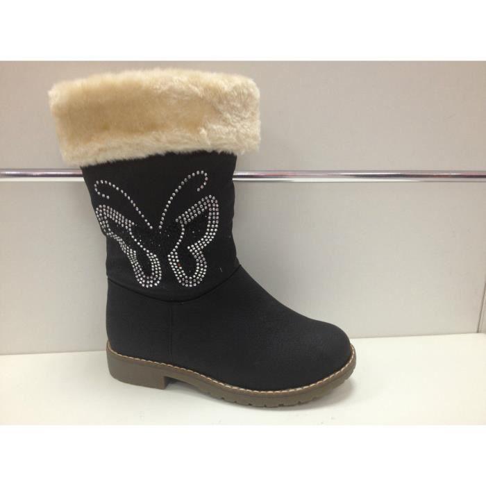 pas cher procédés de teinture minutieux nouveau style et luxe Bottine fille botte fourrée fourrure boots 705 Noir noir ...