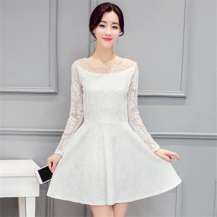 Femmes Branche manches en dentelle A-ligne Perspective solide Tunique Mini Robe Femmes Sexy Noir Blanc Robe Taille Plus vêtements