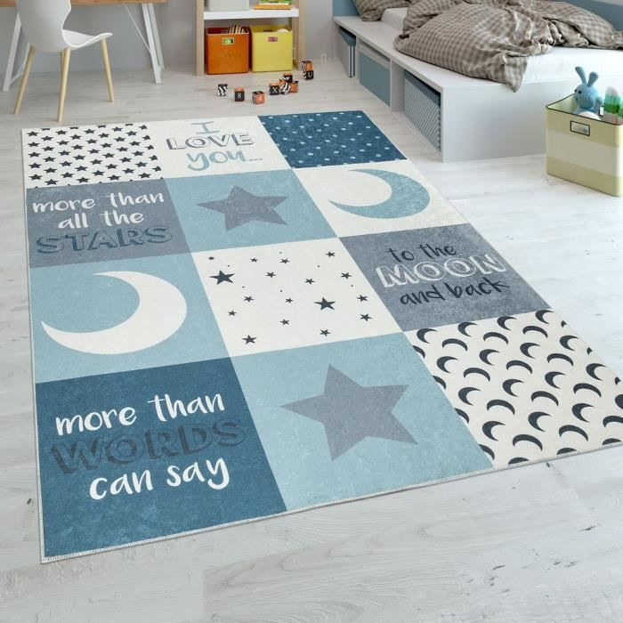 Tapis Chambre Enfant Garçons Lavable Cœurs Étoiles Lune Inscription ...