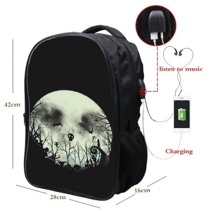SAC A DOS Cool Garçons Filles école USB charge à dosThe Nightmare Before Christmas Sac à dos Voyage Fashion Hommes Femmes Cool
