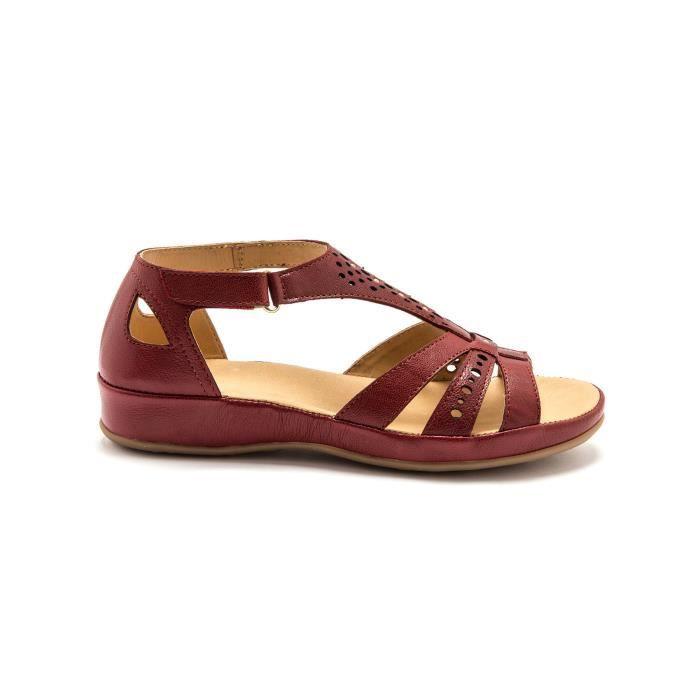 Sandales cuir ajouré à patte auto-agrippante