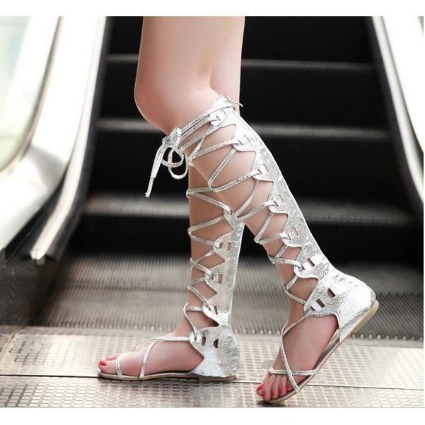 Femmes Knee High spartiates Femmes Flats Chaussures ptgw8tvDyv