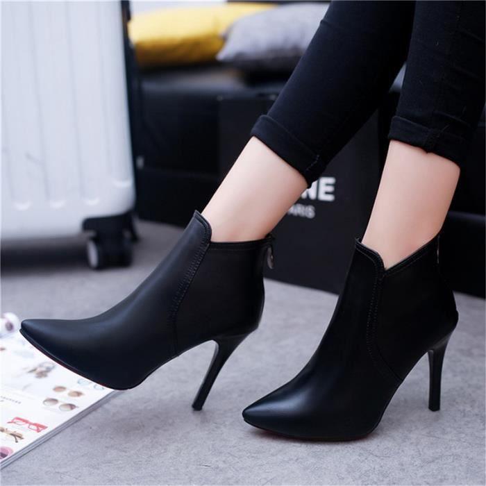 Botte Femme talon haut en cuir Casual solide Couleur Stiletto talon noir taille34