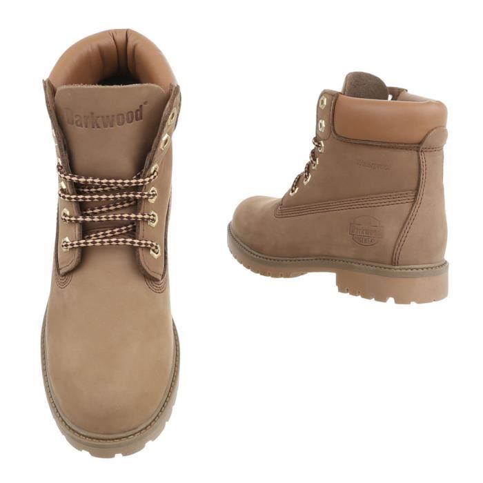 Chaussures femme bottillon cuir le laçage bottes Marron clair 43