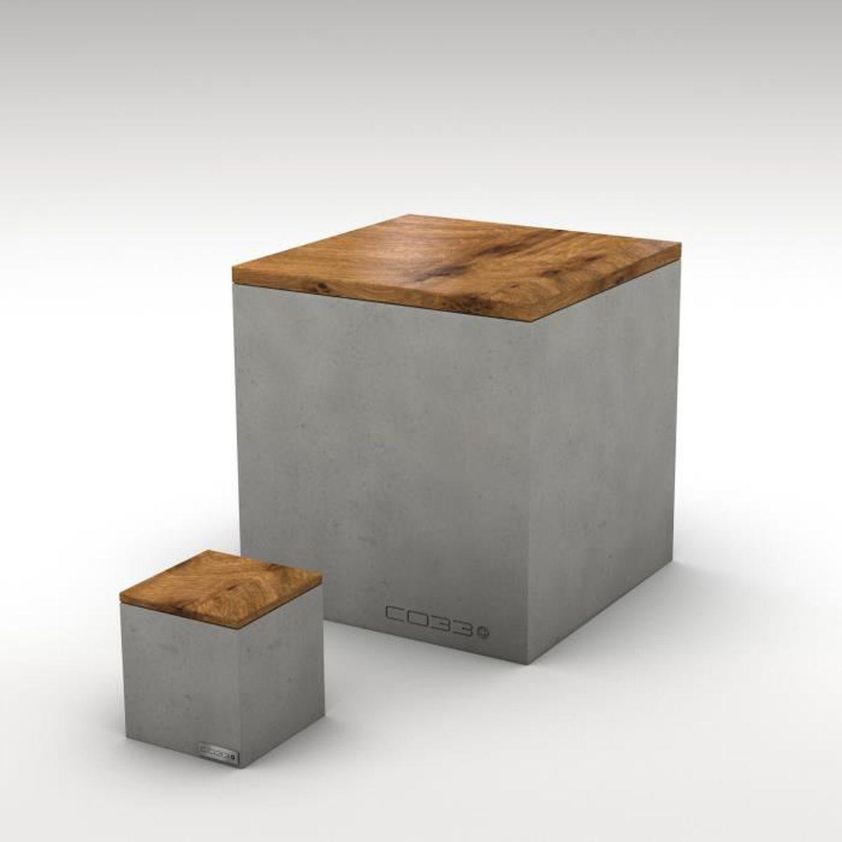 rangement en b ton avec couvercle en bois grand mod le. Black Bedroom Furniture Sets. Home Design Ideas