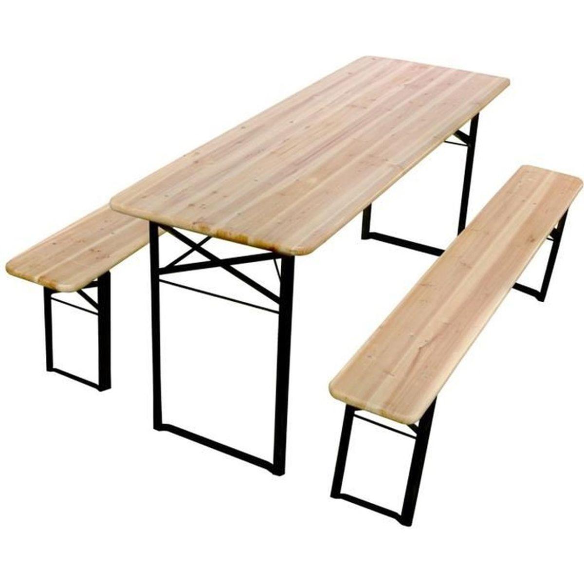 Table Pliante Bois Avec Bancs Achat Vente Pas Cher