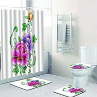 RIDEAU DE DOUCHE 4PCS Antiderapant toilettes Polyester Couverture M