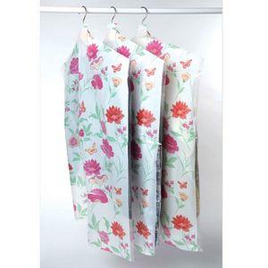 HOUSSE VÊTEMENTS Lot 12 housses vêtement roseraie vert / rose 63x13