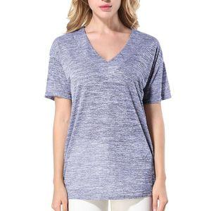 T-SHIRT Mode féminine solide V à manches courtes T-shirt d