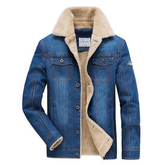 Homme Hiver Jeans Confortable Casual Veste Vetement En Chaude 1TqxBAw