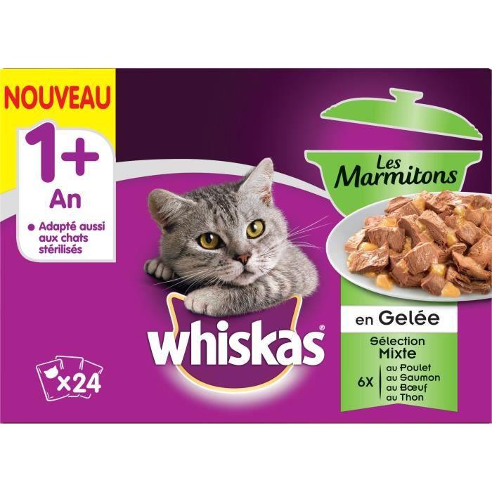 WHISKAS Les Marmitons - Sachets fraîcheur en gelée - 4 variétés - Pour chat adulte - 24 x 85 g