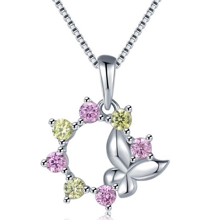 MBLife Papillon Fleur Pendentif Collier Argent Sterling 925 Rose Vert CZ (17 Pouces)