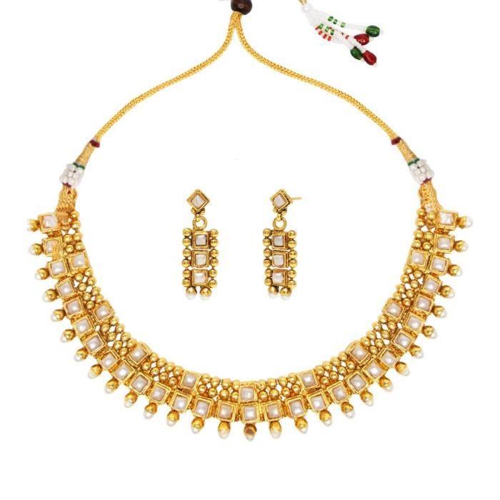 Les femmes de la mariée avec boucles doreilles blanc Collier en cuivre Set Ensembles de bijoux pourLPFJG