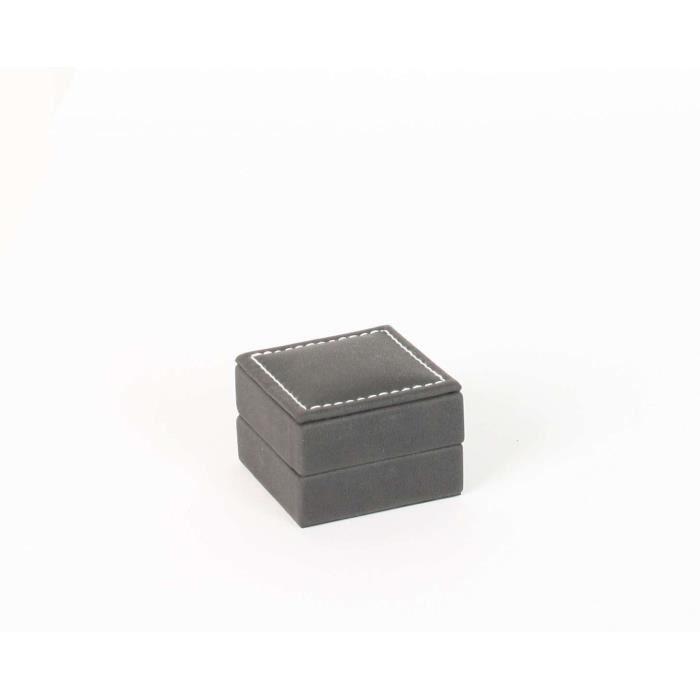 Jouailla - Ecrin boucles doreillesgainé synthétique noir, aspect chevreau surpiqûres écrues