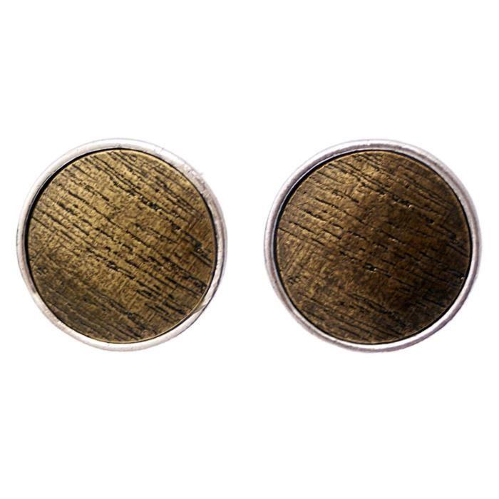 Boucles doreilles métal argenté collection Wood