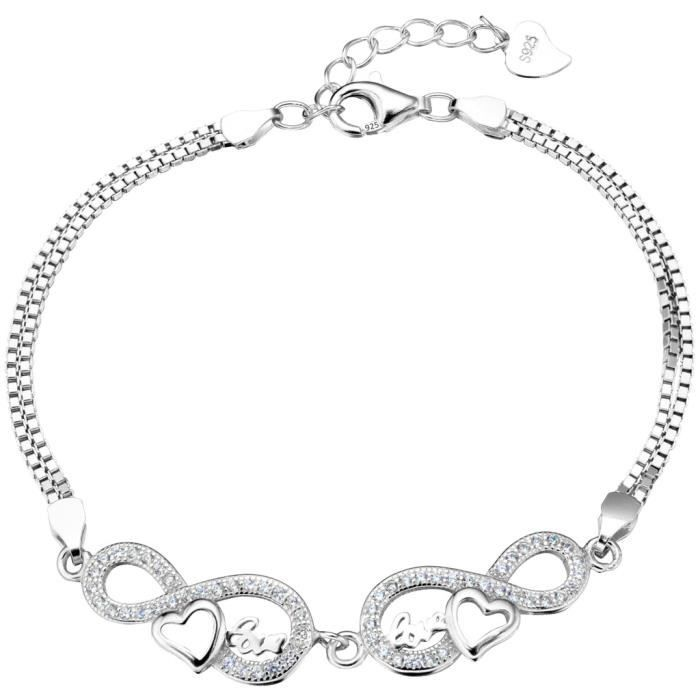EVER FAITH®-Amour Infini- Bracelet Chaîne Argent 925 Oxyde de Zirconium Cadeau Anniversaire Symbole 8 Cœur N07407-1