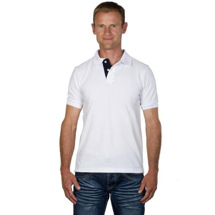 fb4bc8d21725d UGHOLIN Polo Homme Uni Blanc Coton Piqué Logo Cane Corso Brodé Ton sur Ton