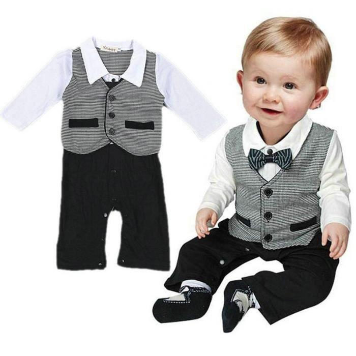 bc6de4ef77c38 Gentleman costume formel bébé garçon Pantalon Romper Une pièce Jumpsuit  Vêtements mis 0-18m rouge