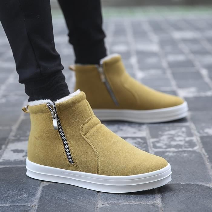 Botte Homme hiver court Jaune chaud Boot Double tirettes gris taille41 o4VSGEPpwz