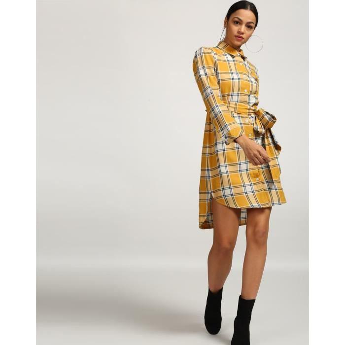 Trendtwo Les femmes de moutarde à damiers Vendi noueuse Chemise à carreaux Robe Nœuds coton MiniBLYGC Taille-42