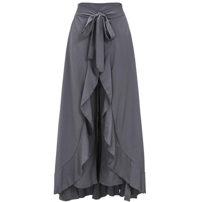Haute Taille 38 Femme 3klucc Irrégulière Jupe Longue Ample Pour 3AR45jL