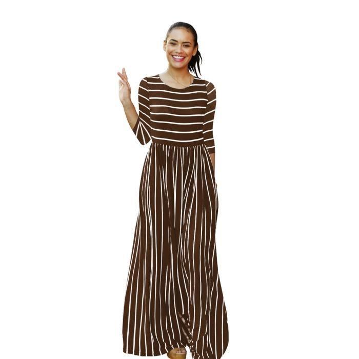 64d11066e4b9f Femme Robe avec rayures Maxi Longue Robe de Soiree Robe de Plage Robe  Cocktail Party col rond élégant Avec poche