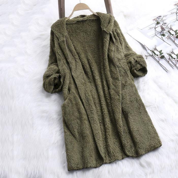 Vert Manteau Artificielle Manteaux D'hiver Parka Veste Femmes Laine Zipper En Dames vwyaH