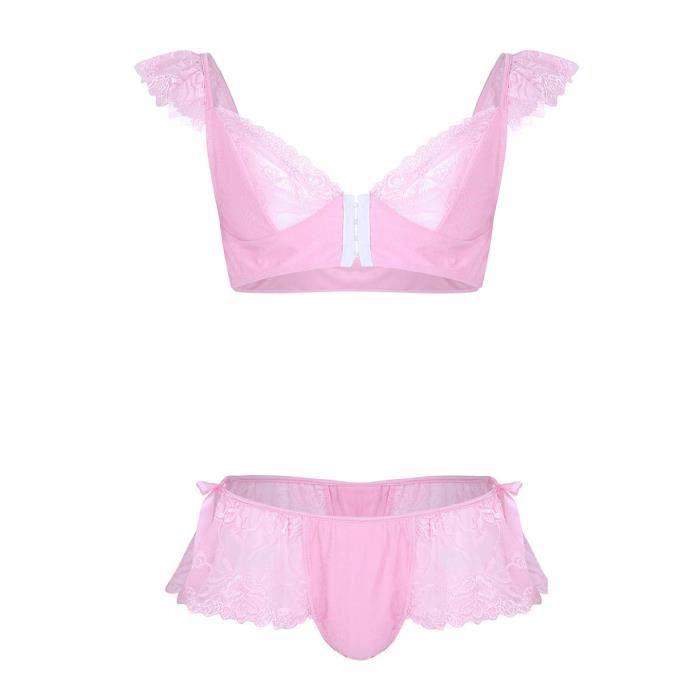 6759b71eabc7b Ensemble Lingerie Homme Sissy String Dentelle Slips Sous-vêtement  Soutien-Gorge Culottes Caleçon Bikini Maillot de Corps Thong M-XL