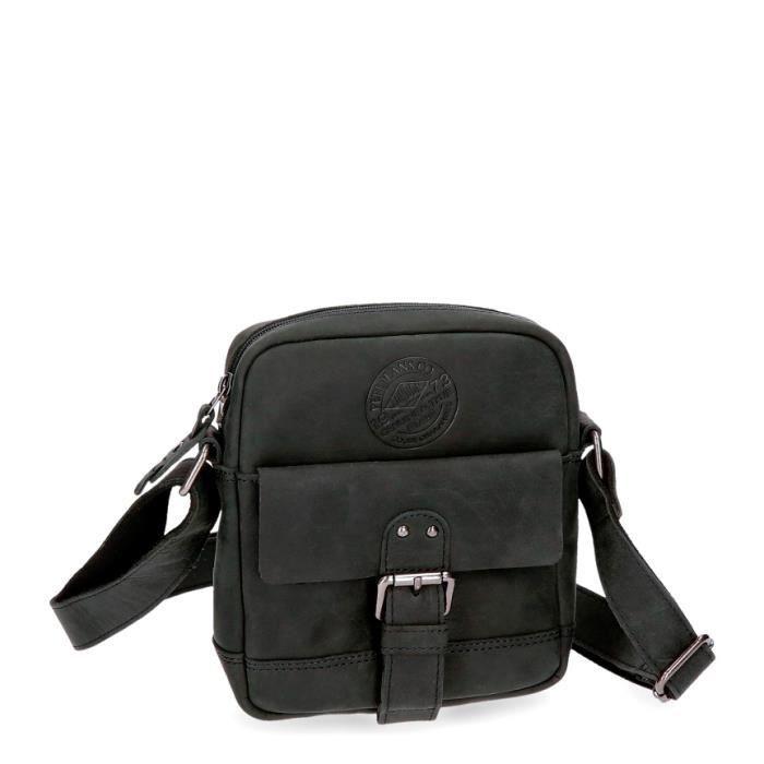 dc0e355379d BESACE - SAC REPORTER Pepe Jeans cuir sac à bandoulière noir Aristocrat