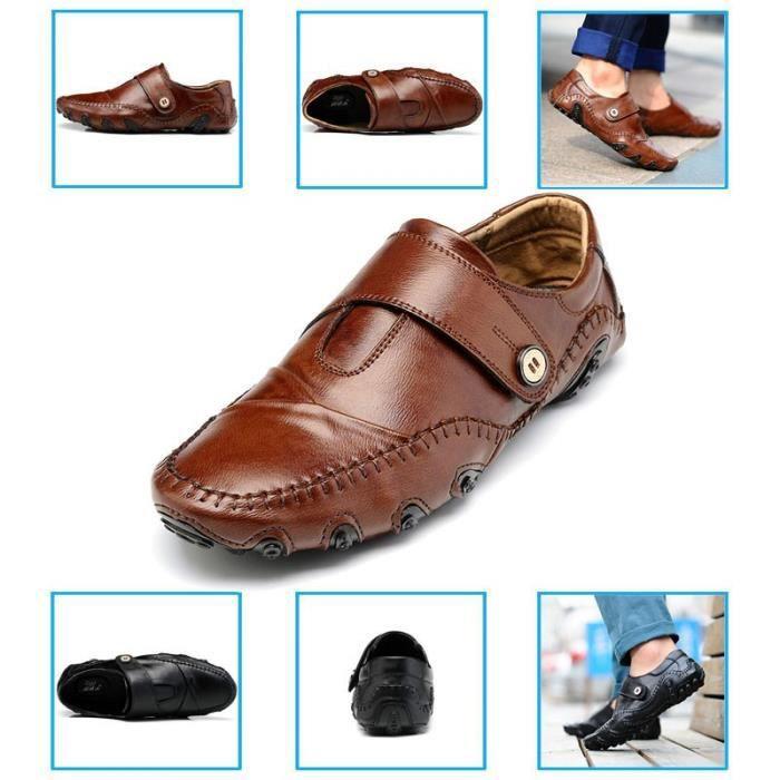 Mode Chaussures de conduite en cuir pour homme (noir, bleu, brun) Taille: 38-47,bleu,39