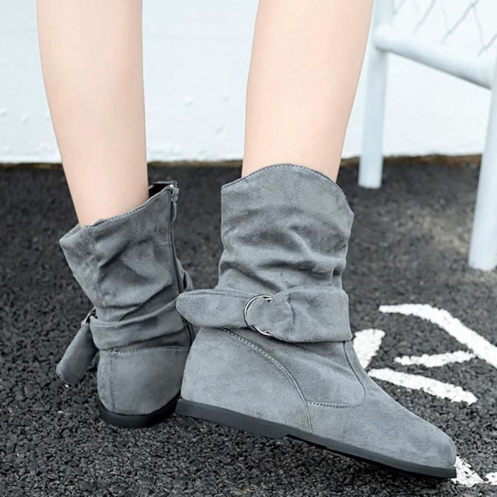 gris Plat Jeu Bottines Vintage De Bottes Moyen Bottillons Souples Style Femmes Pieds Chaussures YREnwfq67