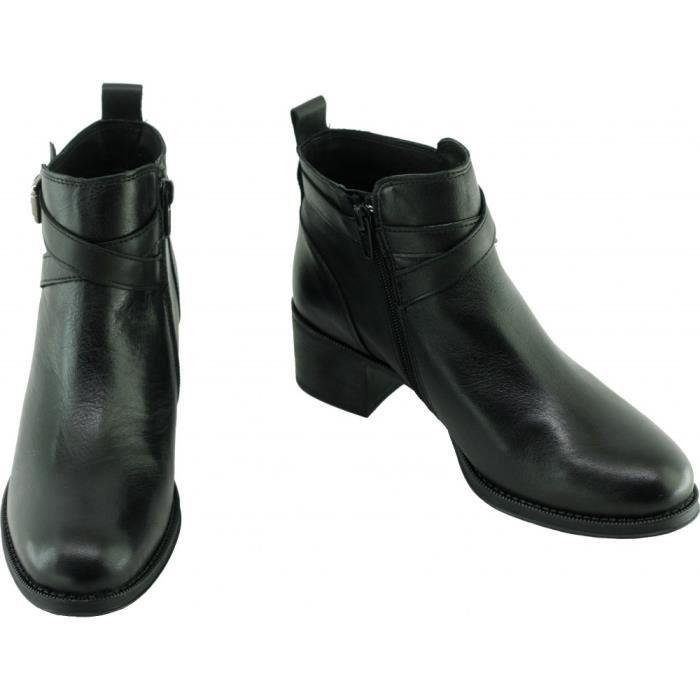 KILLIANE - Bottines talons épais et brides déco marque Angelina chaussures Femme fabriquée en Espagne cuir noir