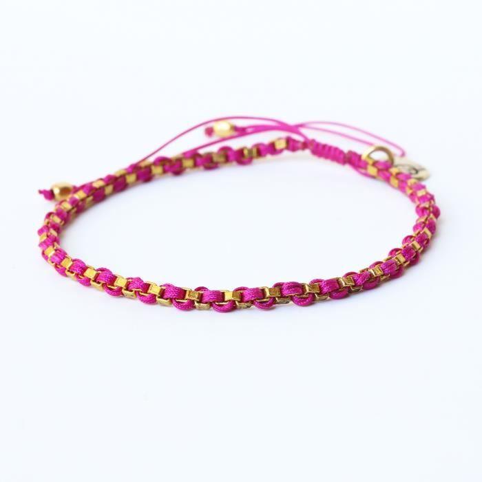 Amitié réglable Femmes Bracelet ficelle de coton tissé avec plaqué or sur laiton (rose) TQ5X4