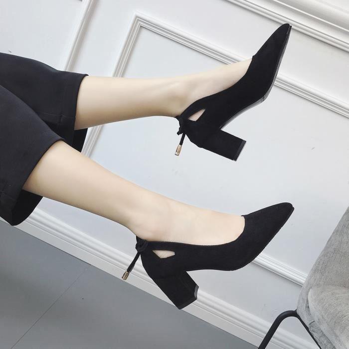 À Banconre®femmes Square Bout On Chaussures rose Buckle Slip Talon Shallow Bas Rond 5YYrwZqO