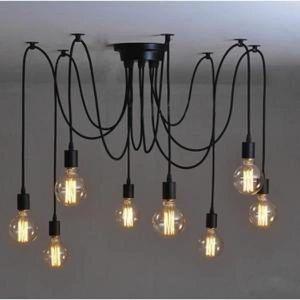 LUSTRE ET SUSPENSION 8pcs E27 Douille Rétro Lustre Plafond Lampe Suspen