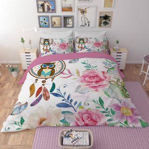 HOUSSE DE COUETTE SEULE Parure de lit Motif beau et colore attrape rêve hi