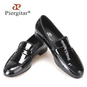 MOCASSIN Classique Conçu Black Patent Leather chaussures à