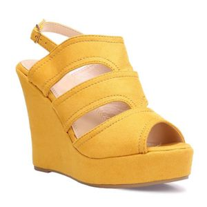 48055bb4149a SANDALE - NU-PIEDS Sandales compensées jaunes à larges brides