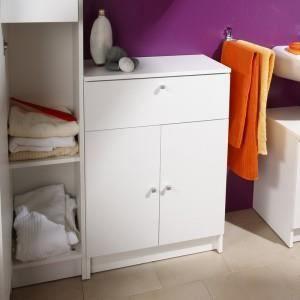 Petit meuble rangement bas blanc achat vente pas cher for Meuble design bas prix