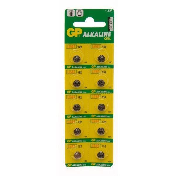 GPBM Carte de 10 piles LR41 Alcaline
