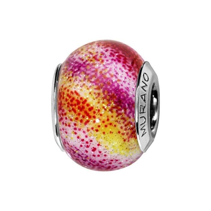 Charms Argent 925 Perle Murano Multicolore Rose Pailletté