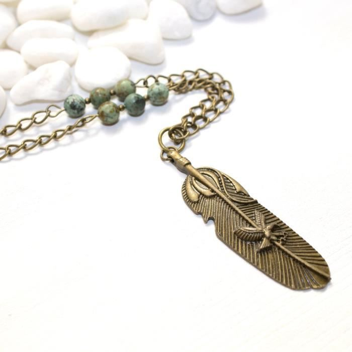 Craze Plume et Eagle Collier - Turquoise mex Bijoux - Made In The Us