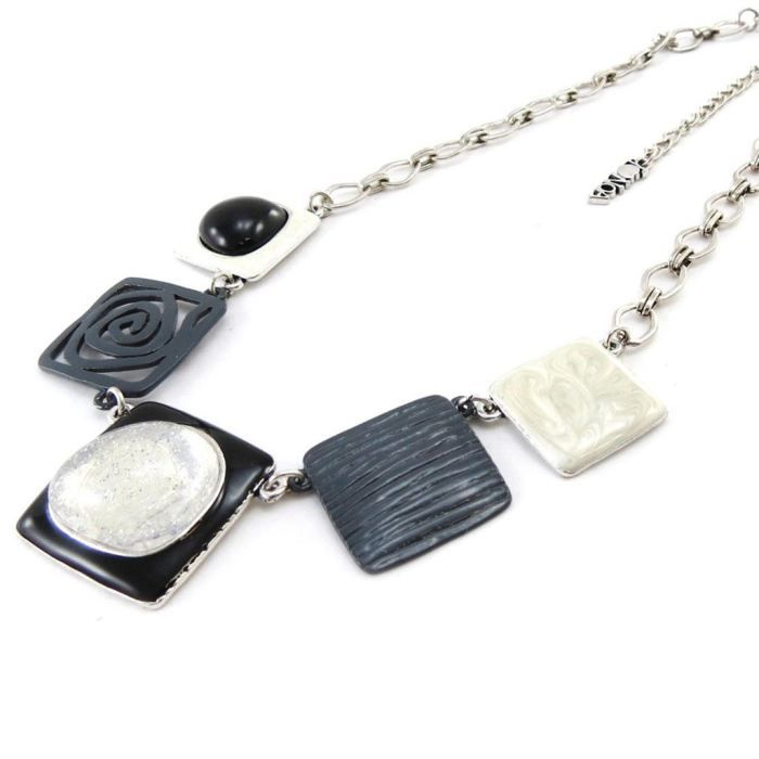 Collier Créateur Les Acidulés noir gris blanc