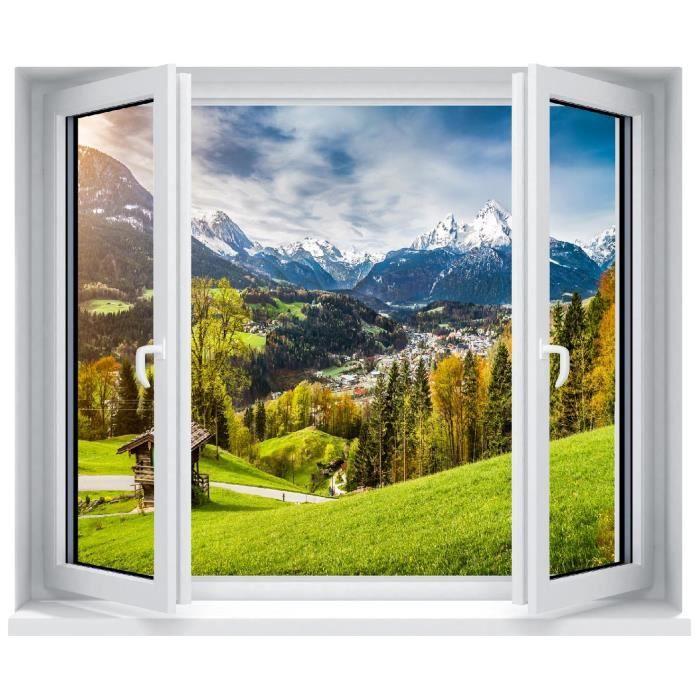 Sticker Trompe Loeil Fenêtre Montagne Dimensions 60x50cm Achat