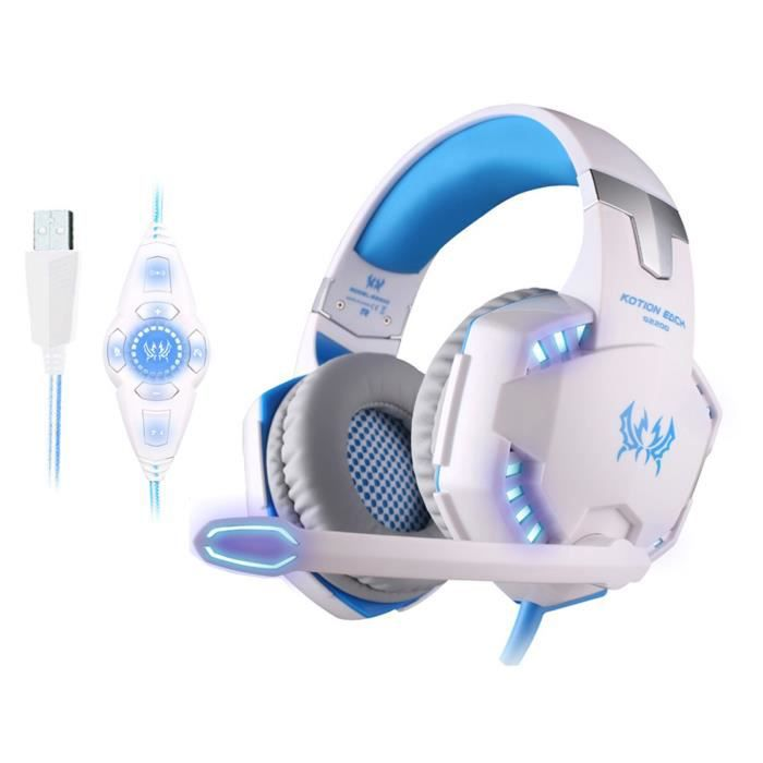 Gaming Casque Gamer Headset Headphone Micro- Filaire Avec Usb 7.1 Micro Et Led Pour Pc