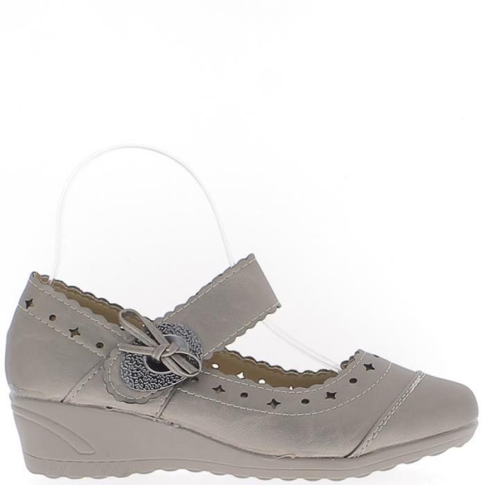 Chaussures femme bronze confort talon compensé de 4cm liseré gris ... 4ebbcde1413c