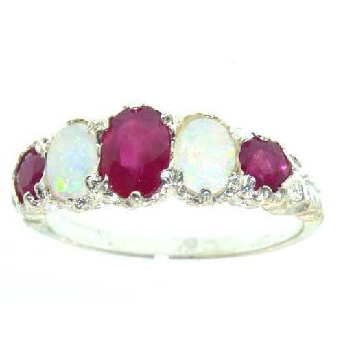 Bague pour Femme en Or blanc 9 carats 375-1000 sertie de Rubis Opale- Tailles 50 à 64
